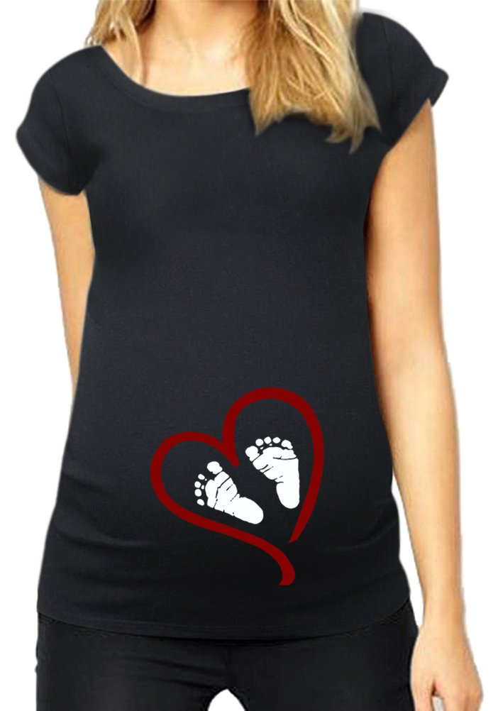 HappyBerry Women Maternity T Shirt Funny Graphic Tee Cute Tops for Pregnancy Black X-Large
