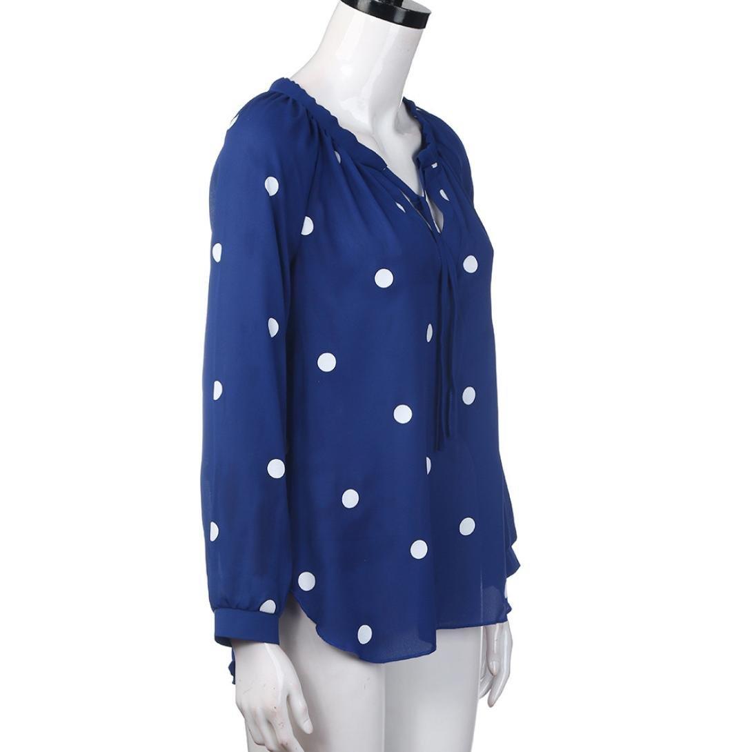 LILICAT® Blusa suelta de mujer, 2018 Blusas de gasa de moda Blusas con puntos Camisas de manga larga con cuello en V: Amazon.es: Deportes y aire libre