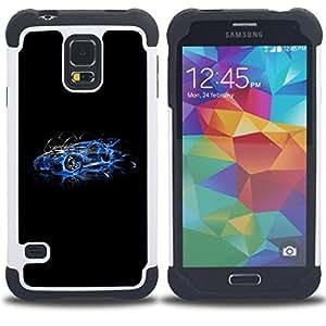 """SAMSUNG Galaxy S5 V / i9600 / SM-G900 - 3 en 1 impreso colorido de Altas Prestaciones PC Funda chaqueta Negro cubierta gel silicona suave (Azul Street Racing Car"""")"""