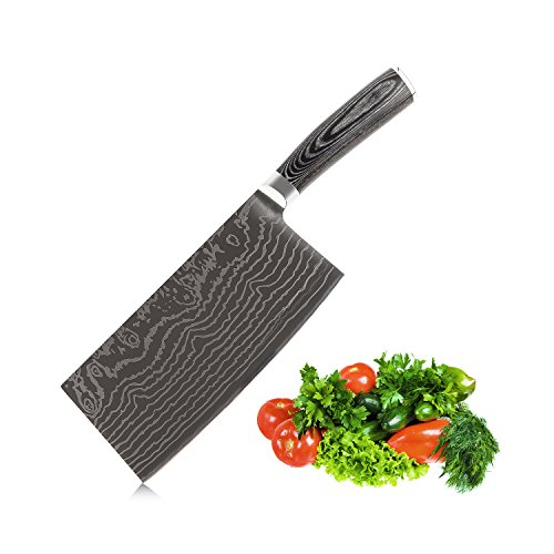 EKUER 7-Inch Chinese Chef Chopper Cleaver Butcher Vegetable Knife for Home Kitchen or Restaurant,German High Carbon Stainless Steel