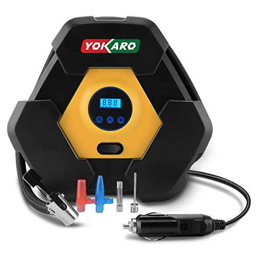 YOKARO Portable Digital Tire Inflator 12V 150PSI Auto Shut off Air Compressor Pump with 3 High-air Flow Nozzles & Adapters by YOKARO