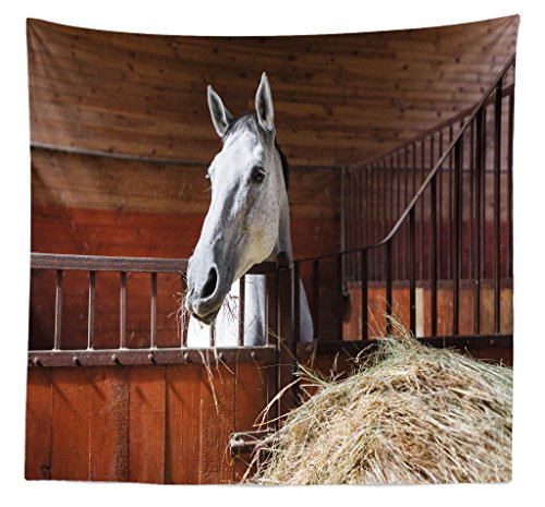 Bedspread Style Ranch (Lunarable Horse Tapestry Queen Size, Young Mare Eating Hay in Stable Rustic Barn Ranch House Animal Fun Print, Wall Hanging Bedspread Bed Cover Wall Decor, 88 W X 88 L Inches, Dark Olive Green)
