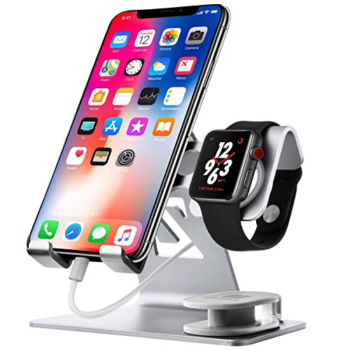 Chic_gifts Cell Phone Stand Compatible for Apple Watch Charger IWatch Charging Stand 2 in 1 Aluminium IPad Stand Tablet Desk Docking Station for IPad, IPhone 6s 7 8 X Plus, Nintendo Switch (Silver)