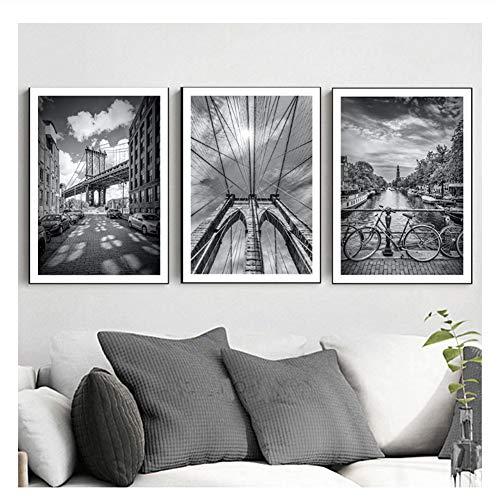 feitao New York Brooklyn Bridge Art Canvas Painting Posters E Impresiones Black White Views Cuadros De Pared para La Decoracion De La Sala De Estar -20X28 Pulgadas Sin Marco 3 Piezas