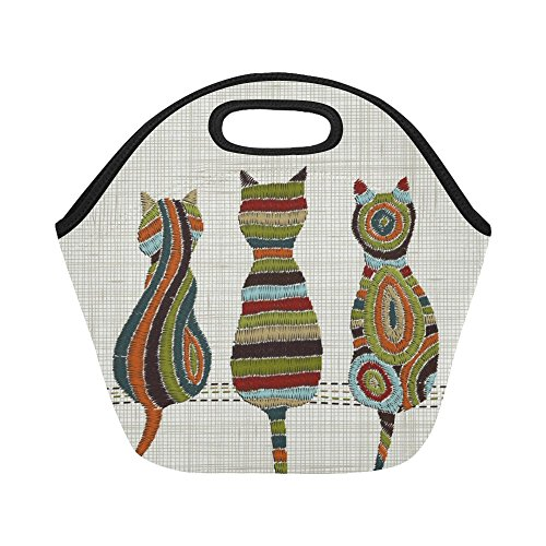 InterestPrint Embroidery Cats Oriental Reusable Insulated Neoprene Lunch Tote Bag Cooler 11.93