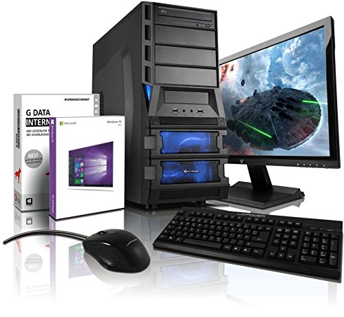 Komplett PC Gaming/Multimedia A8-7600 inkl. Windows 10 Professional - AMD Quad-Core A8-7600 4x 3800 MHz, AMD Radeon R7 720 - Mhz 4096 MB DVI/VGA mit DirectX11 Technologyy, USB3, 16GB RAM, 1TB HDD, 24-Zoll LED TFT Monitor, Lautsprecher, Tastatur+Maus #5000