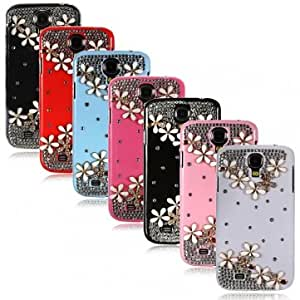 Crystal With Flowers Pattern Case For Samsung Galaxy S4 i9500 & Color = Red