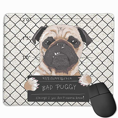 Cute Large Mouse Pad with Animal Design Angry Dog Pug Prisoner Graphic for Computer Office Gaming,11.8x9.8x0.09 Inch