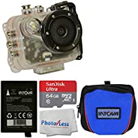 Intova HD2 Marine Grade Action Cam - Waterproof to Depths of 330 + Intova Spare Battery + Intova Camera Bag (Blue) + SanDisk Ultra 64GB microSDXC UHS-I Card + Photo4Less Cleaning Cloth + Full Bundle