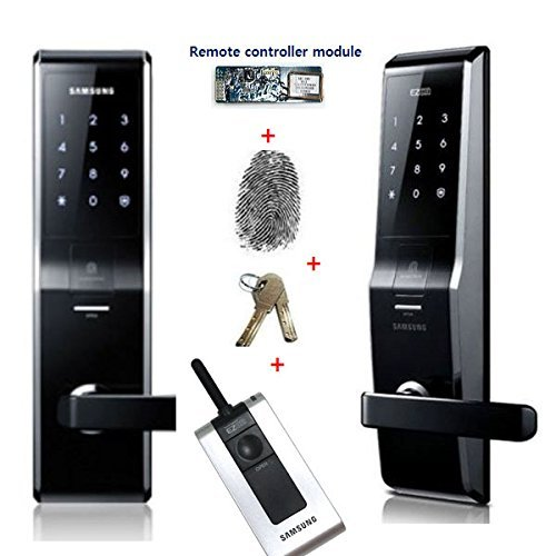 Fingerprint SAMSUNG SHS-5230 (SHS-H700) digital door lock keyless touchpad security EZON + 2pcs of Emergency keys +Remote controller + Remote module Free EXP Ship by SAMSUNG