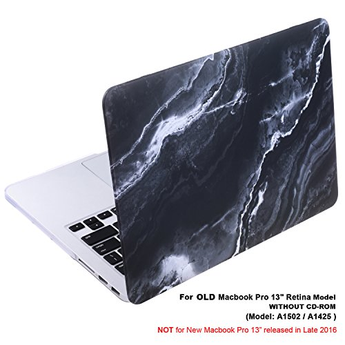 Cosmos Rubberized Plastic Hard Shell Cover Case for MacBook (Macbook Pro 13' Retina (A1502 / A1425), Black Marble Pattern)