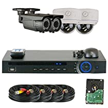 GW Security 1080P HD-CVI 4 Channel Video Security Camera System - 4 X 2MP Weatherproof 2.8-12mm Varifocal Zoom (2) Bullet & (2) Dome Cameras, IR Night Vision, Pre-Installed 1TB HDD