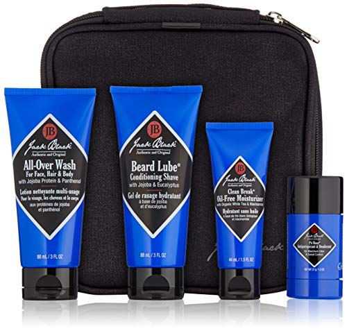 Jack Black - Grab & Go Traveler Set - TSA-Approved Sizes, Clean Break Oil-Free Moisturizer, Pit Boss Antiperspirant & Deodorant, Beard Lube Conditioning Shave, All-Over Wash for Face, Hair and Body (Conditioning Shave Lube Beard)