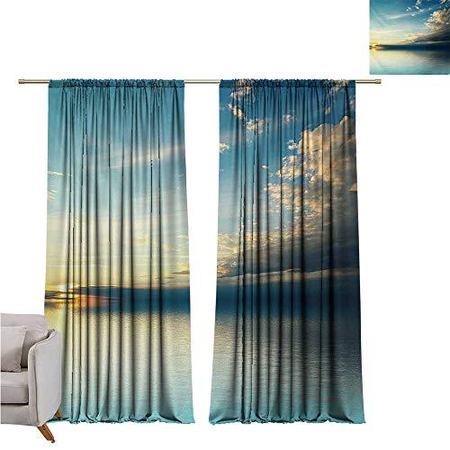 - DESPKON-HOME Window Darkening Curtains,Ocean Panorama of Sea Sunset Sundown Reflection Horizon Dark Clouds Nature Picture Décor Darkening Curtains (96W x 72L inch,Teal Aqua Blue)