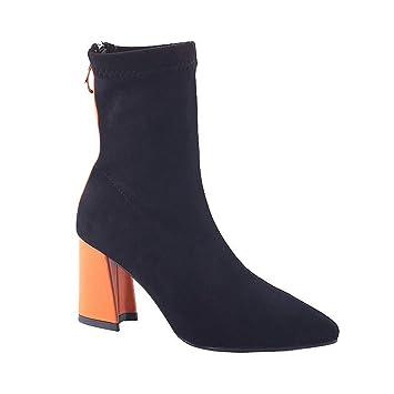 SFSYDDY Zapatos Populares/Martin Botas Botas Cortas Rough Alto 8Cm Colorear Delgado Botas Calcetines Botas