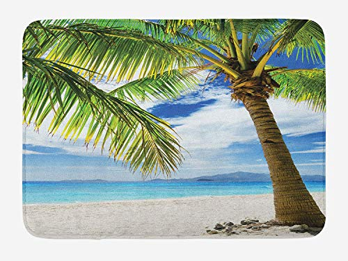 Lonely Palm Tree Bath Mat, Sandy Beach Isolated Philippines Hot Sunny Travel Destination, Plush Bathroom Decor Mat with Non Slip Backing, Green Coconut Blue,15.7X23.6 inch (Rattan Philippines Furniture Outdoor)