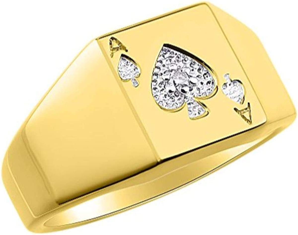 RYLOS Designer Lucky Ace of Spades Poker Ring with Genuine Diamonds Set in Sterling Silver or 14K Yellow Gold Plated Silver .925