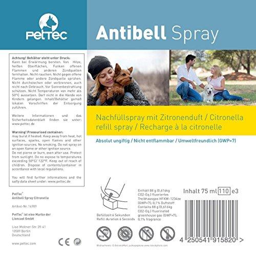 PetTec 14532  Nachfüllspray im 3er-Pack für Erziehungshalsband Funk Spray Trainer und Antibell, citronella