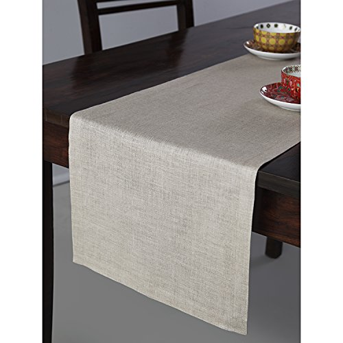 Solino Home 100% Pure Linen Table Runner Athena, Natural Fabric Handcrafted Runner, Natural 14 x 72 Inch