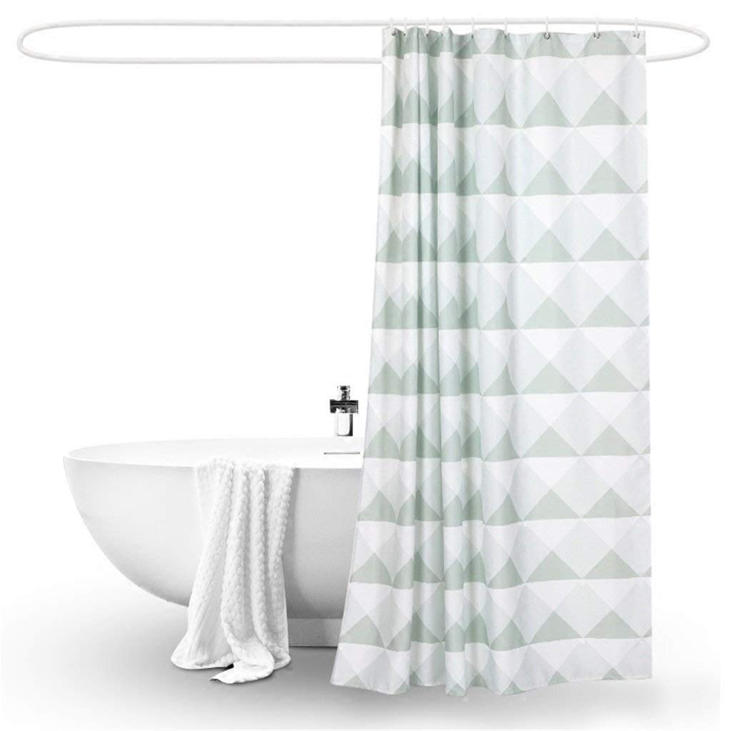 Thickening Shower Curtain Waterproof Mildew Proof, Green Triangle Creative Home Fabric Partition Polyester Curtain Cloth Hotel Hostel Bathroom Cut Off - Plastic Hanging Ring/Hook