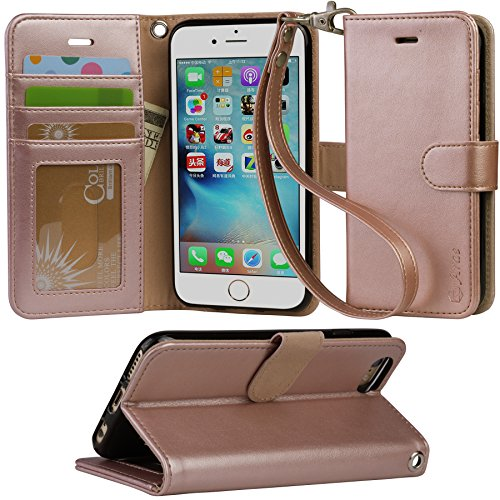 Arae PU Leather Flip Folio Kickstand Wallet Case with Card Slots for iPhone 6 / 6S - Rose Gold (Cell Phones Case For Iphone 6)