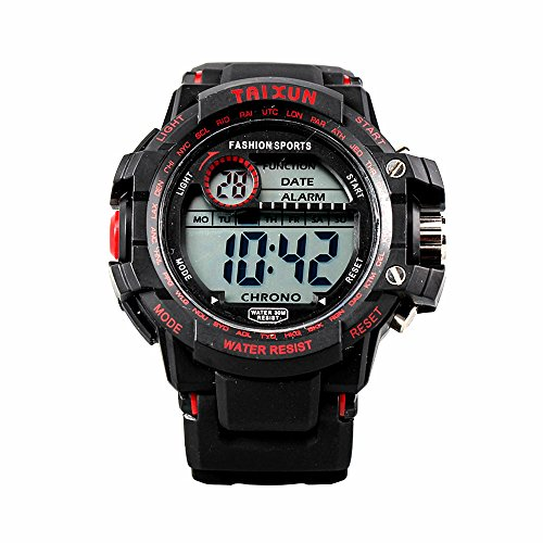 TAIXUN Unisex Kids Fashional Military Water Resistant Digital LED Sports Electric Wrist Watch with Black Band