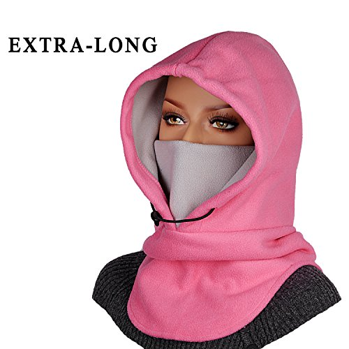 Mazo Double Layers Thicken Warm Full Face Cover Winter Ski Mask(Rose/Gray)