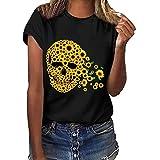 Caixukun Womens Tops Plus Size Short Sleeve Sunflower Skull Head Print Funny T-Shirt Blouse Ladies Tee Clothes Sale Black