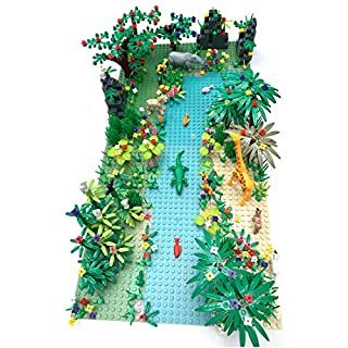 Yamix Jungle Forest Garden Park Building Block Parts Rainforest Plants Trees Flowers Scenery Building Bricks Toy Set with Base Plates Compatible with All Major Brands