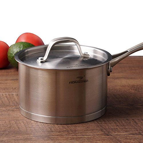 HOMI CHEF Matte Polished Stainless Steel 1.75 QT Sauce Pan with Lid (7 Inch Straight Sided, Nickel Free, No Coating) -Professional 1.75 Quart Nonstick Cast Iron Stainless Steel Straight Sided Saucepan