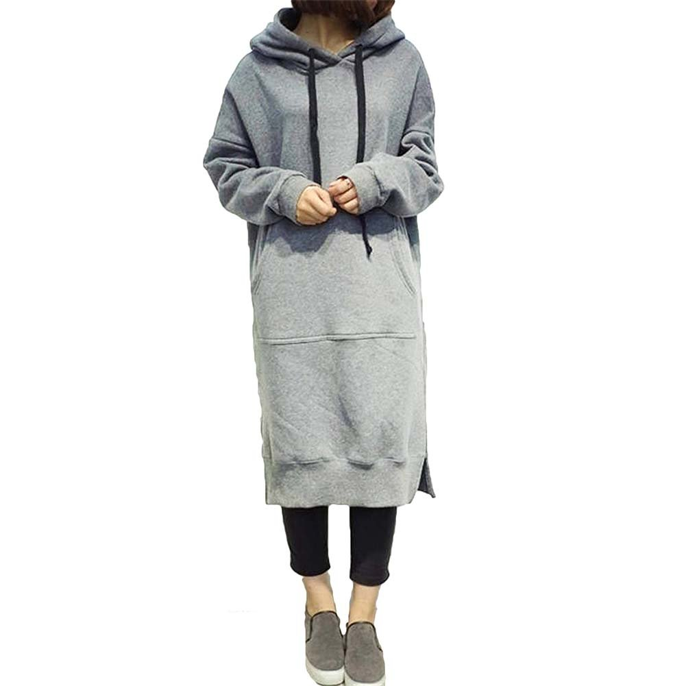 Hibote Women Oversized Hoodie Sweatshirt Loose Hoodie Pullover Maxi Dress Casual Jumper Sweater Long Tops Coat Plus Size L-5Xl T171201WD1-X