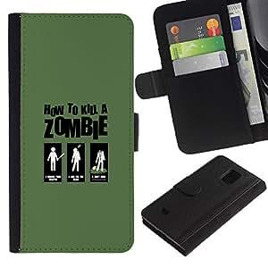 EJOY---Tirón de la caja Cartera de cuero con ranuras para tarjetas / Samsung Galaxy S5 Mini, SM-G800 / --Zombie Killing Guía divertido
