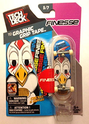 (2014 Tech Deck Graphic Grip Tape Finesse Chicken & Waffles Mini Finger Skateboard #5/7 with Display Stand)