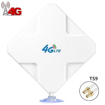 4G LTE Antenna TS9 Connector de alto rendimiento. Dual Mimo Amplificador de Señal Exterior Receptor 35dbi Alto Ganancia de Red Larga Distancia ...