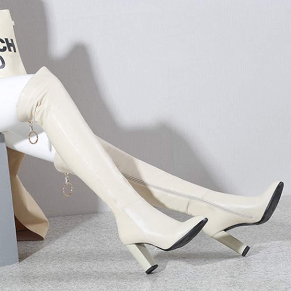 Cy Hohe Schlauch Schlauch Schlauch Schuhe Frauen Echtes Leder Overknee-Stiefel Für Damen Winter Warm High Heels Stiefel Hoch Arbeit Riding Knight Stiefel 616594