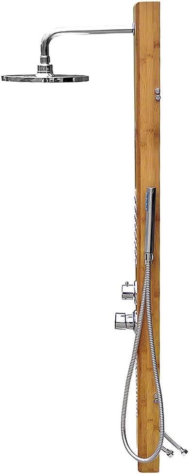 Deuba - Columna de ducha en madera de bambú, alcachofa e ...