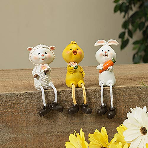 Gerson Easter Bunny Chick & Lamb Spring Shelf Sitters - Set of 3