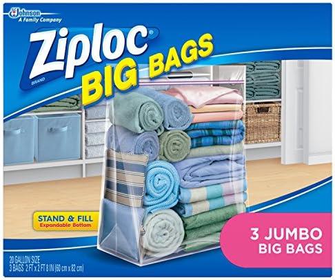 Ziploc Storage Bags, Double Zipper Seal & Expandable Bottom, Jumbo, 3 Count, Big Bag