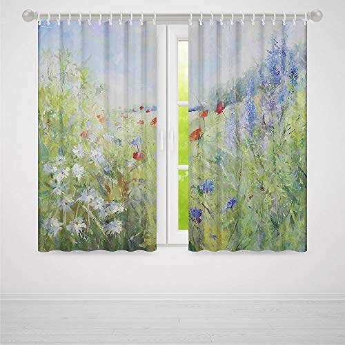 YOLIYANA Flower Decor Collection,Summer Terrace Gate with Colorful Flowers in a Garden House in Greece Image,for Living Room, 2 Panel Set,28W X 39L ()
