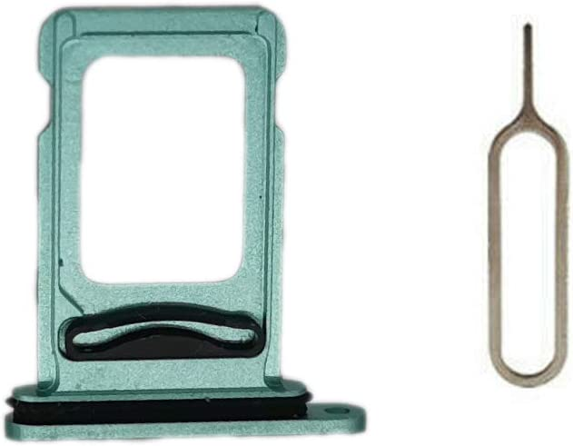 MEEFIX SIM Card Tray Holder Slot Replacement with Open Eject Pin for iPhone 11 (6.1 inch) (Green, Single SIM)