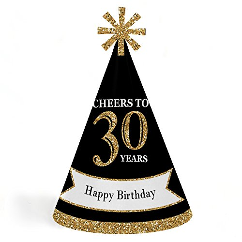 Adults 30th Birthday - Gold - Cone Birthday Party Hats for Kids and Adults - Set of 8 (Standard Size) by Big Dot of Happiness