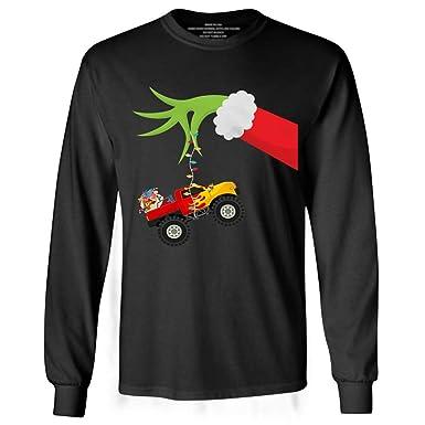 cf85f426fc96 Amazon.com  Grinch Hand Holding Monster Truck Christmas Pajamas Long ...