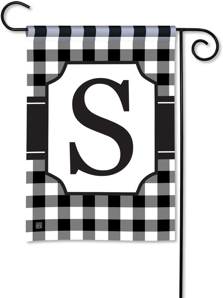 BreezeArt Studio M Black & White Check Monogram S Decorative Garden Flag – Premium Quality, 12.5 x 18 Inches