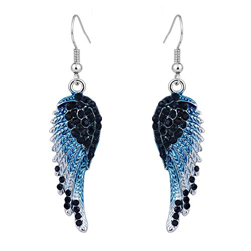 (EVER FAITH Angel Wing Hook Earrings Austrian Crystal Silver-Tone - Blue)