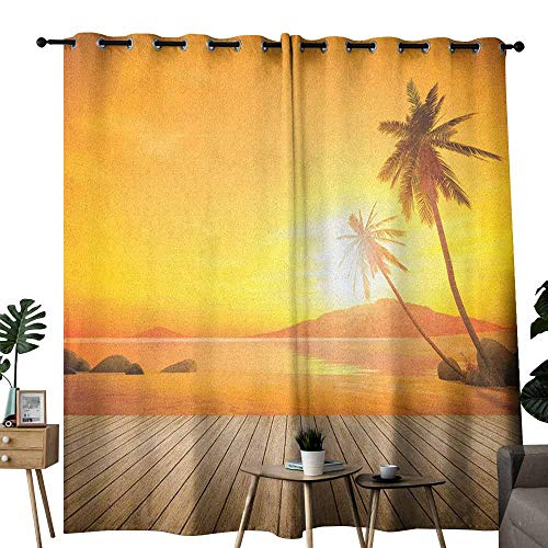 duommhome Ocean Thermal Curtains Sunset Over The Ocean with Palm Tree and Wooden Deck Horizon View Image Tropical 70%-80% Light Shading, 2 Panels,W120 x L84 Orange Brown - Palm Tree Bamboo Curtain