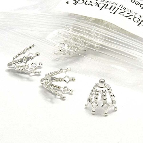 40 Big 10mm Bell Bead End Cap Charms w/Loop & 9mm Prong Legs Plated Brass Metal (Silver Plated) ()