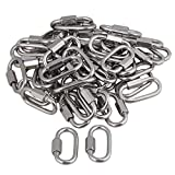Yibuy 50x Multifunctional Stainless Steel Quick Oval Screwlock Link Lock Carabiner M4