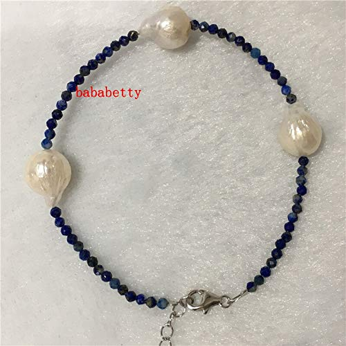 New Natural Black Red Blue 2-3mm Stone 10-11mm Freshwater Pearl Bracelet 7 Inch 925 Sterling Silver Clasp sizeened 3cm ()