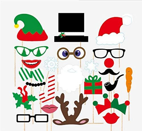 USA-SALES Seller Christmas Photo Booth Props Attached to the stick NO DIY Required 27 PCS Christmas Party Decoration Mask
