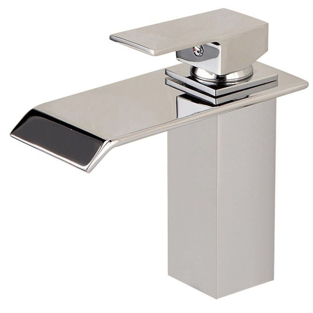 Lpophy Bathroom Sink Mixer Taps Faucet Bath Waterfall Cold and Hot Water Tap for Washroom Bathroom and Kitchen Copper Flat Mouth Single Hole Hot and Cold